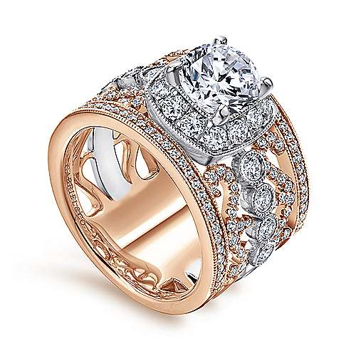 Napa 18k White And Rose Gold Round Halo Engagement Ring angle 3