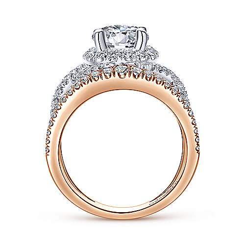Naples 18k White And Rose Gold Round Halo Engagement Ring