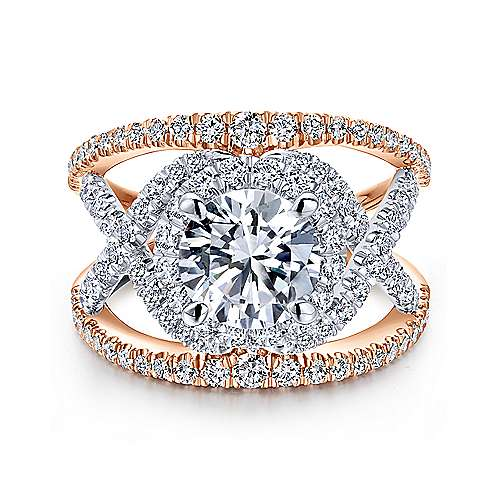 Gabriel - Naples 18k White And Rose Gold Round Split Shank Engagement Ring