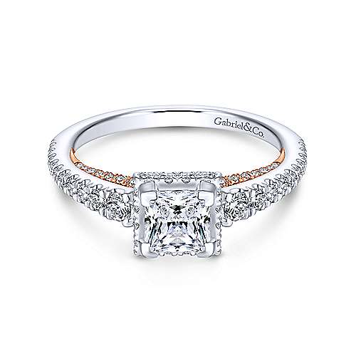 Natalia 14k White And Rose Gold Princess Cut Straight Engagement Ring angle 1