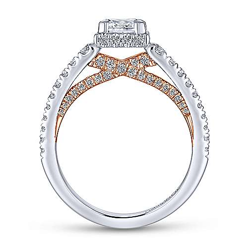 Natalia 14k White And Rose Gold Princess Cut Straight Engagement Ring angle 2