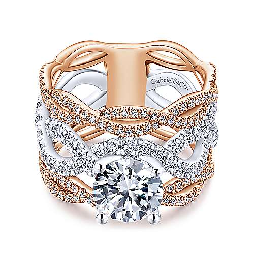 Natasha 18k White And Rose Gold Round Twisted Engagement Ring angle 1