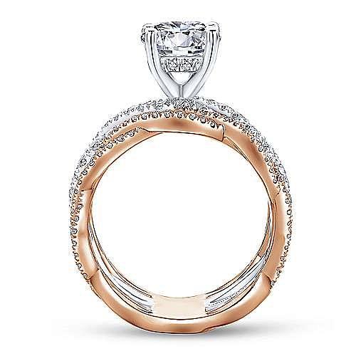 Natasha 18k White And Rose Gold Round Twisted Engagement Ring angle 2