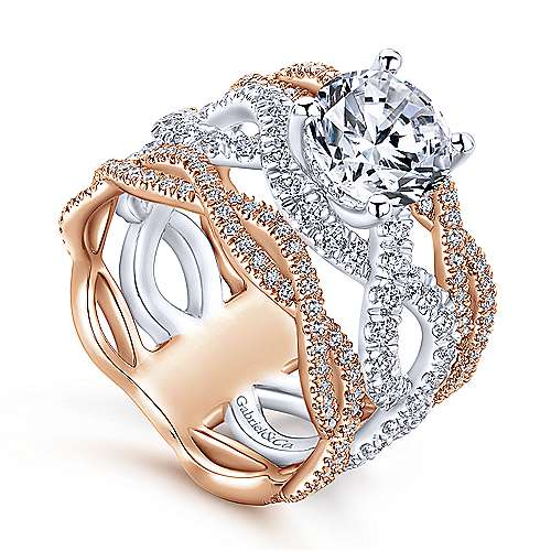 Natasha 18k White And Rose Gold Round Twisted Engagement Ring angle 3