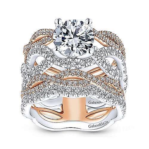 Natasha 18k White And Rose Gold Round Twisted Engagement Ring angle 4