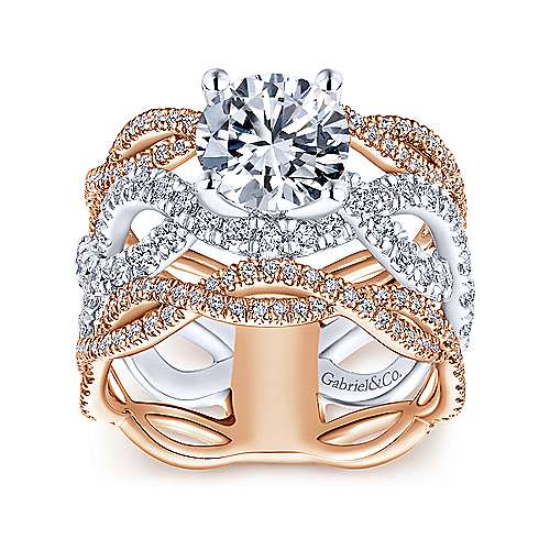 Natasha 18k White And Rose Gold Round Twisted Engagement Ring angle 5