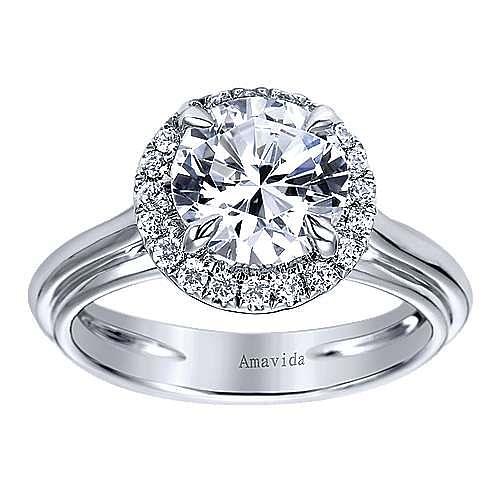 Naz 18k White Gold Round Halo Engagement Ring angle 5