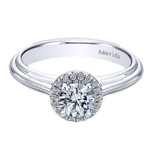Naz 18k White Gold Round Halo Engagement Ring angle 1