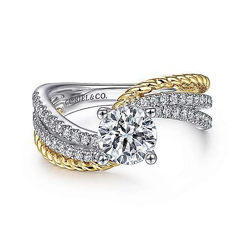 a2bff5c31a0 Neysa 14k Yellow And White Gold Round Bypass Engagement Ring