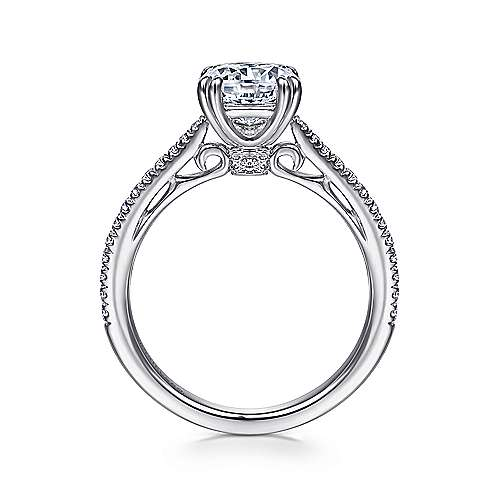 Nicky 18k White Gold Round Straight Engagement Ring angle 2