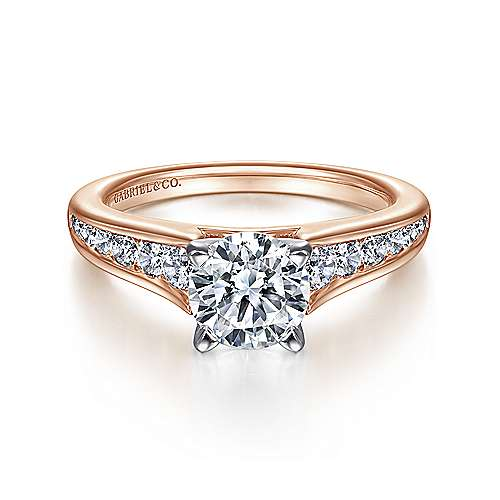 Gabriel - Nicola 14k White And Rose Gold Round Straight Engagement Ring
