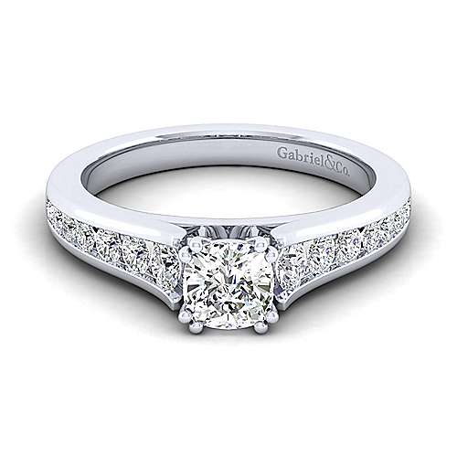 Gabriel - Nicola 14k White Gold Cushion Cut Straight Engagement Ring
