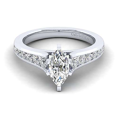 Gabriel - Nicola 14k White Gold Marquise  Straight Engagement Ring