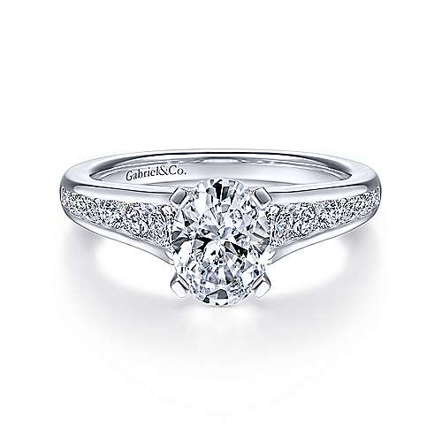 Gabriel - Nicola 14k White Gold Oval Straight Engagement Ring
