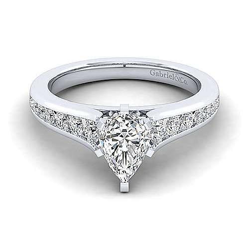 Gabriel - Nicola 14k White Gold Pear Shape Straight Engagement Ring