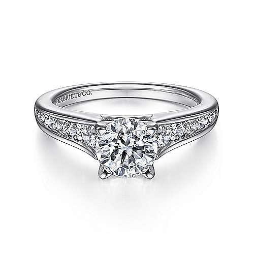 Nicola 14k White Gold Round Straight Engagement Ring angle 1