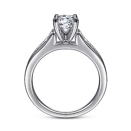 Nicola 14k White Gold Round Straight Engagement Ring angle 2