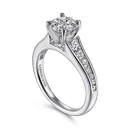 Nicola 14k White Gold Round Straight Engagement Ring angle 3