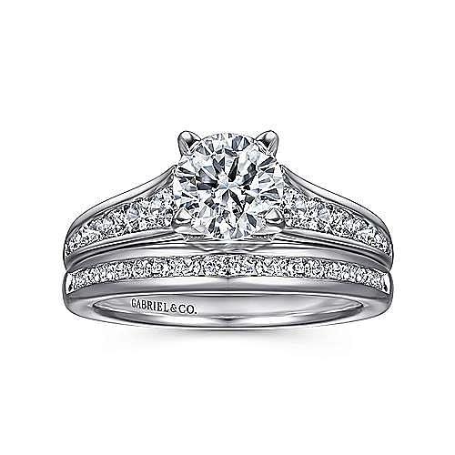 Nicola 14k White Gold Round Straight Engagement Ring angle 4