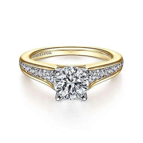 Gabriel - Nicola 14k Yellow And White Gold Round Straight Engagement Ring