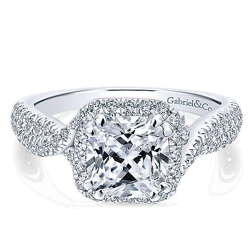 Nigella 14k White Gold Cushion Cut Halo Engagement Ring angle 1