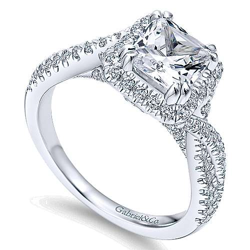 Nigella 14k White Gold Cushion Cut Halo Engagement Ring angle 3
