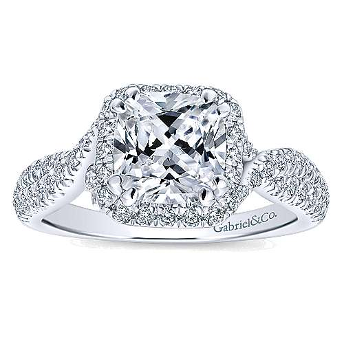 Nigella 14k White Gold Cushion Cut Halo Engagement Ring angle 5