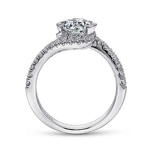 Nikko 14k White Gold Round Bypass Engagement Ring angle 2