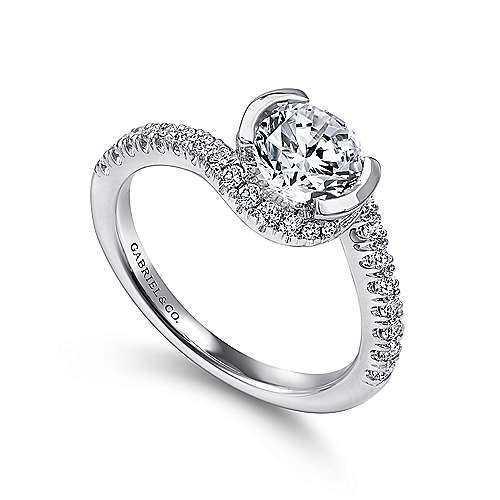 Nikko 14k White Gold Round Bypass Engagement Ring angle 3