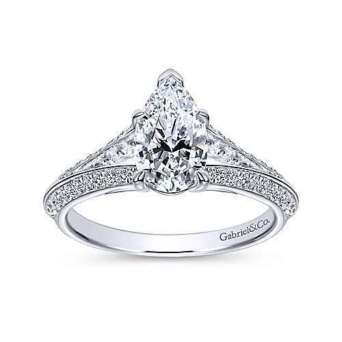 Nila 14k White Gold Pear Shape Split Shank Engagement Ring angle 5