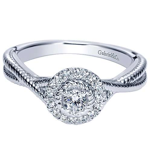 Gabriel - Nimah 14k White Gold Round Halo Engagement Ring