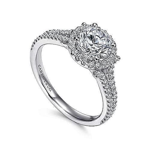Nina 14k White Gold Round Halo Engagement Ring angle 3