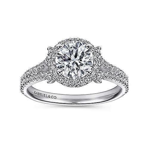 Nina 14k White Gold Round Halo Engagement Ring angle 5