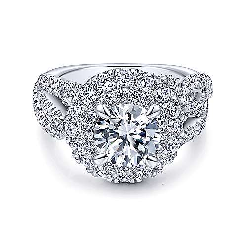Gabriel - Nisha 18k White Gold Round Double Halo Engagement Ring