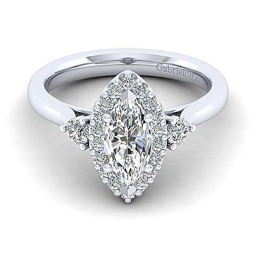 Gabriel - Noelle 14k White Gold Marquise  3 Stones Halo Engagement Ring