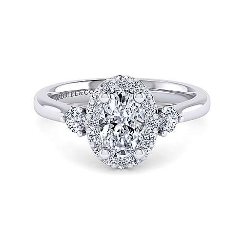 Gabriel - Noelle 14k White Gold Oval 3 Stones Halo Engagement Ring