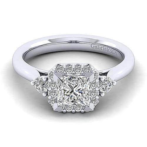 Gabriel - Noelle 14k White Gold Princess Cut 3 Stones Halo Engagement Ring