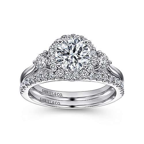 Noelle 14k White Gold Round 3 Stones Halo Engagement Ring angle 4