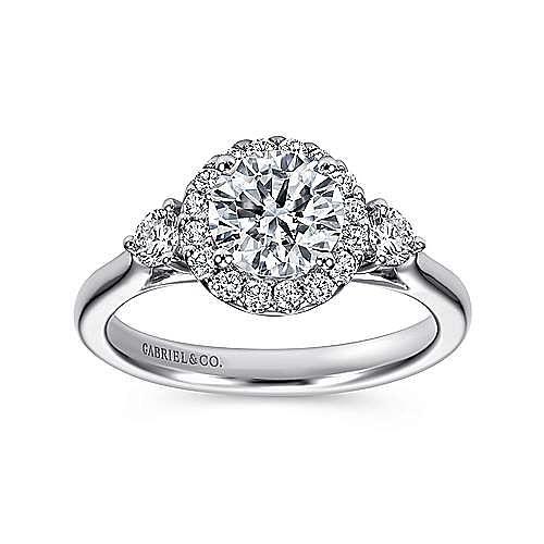Noelle 14k White Gold Round 3 Stones Halo Engagement Ring angle 5