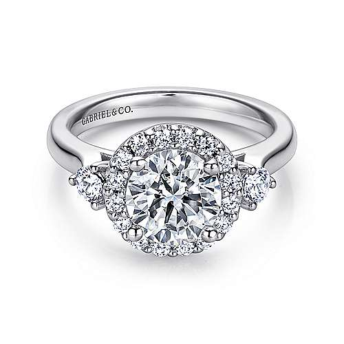 Gabriel - Noelle 14k White Gold Round Halo Engagement Ring