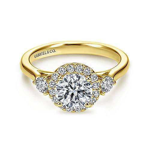 Gabriel - Noelle 14k Yellow Gold Round Halo Engagement Ring