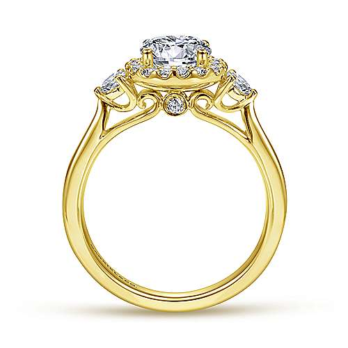 Noelle 14k Yellow Gold Round Halo Engagement Ring angle 2