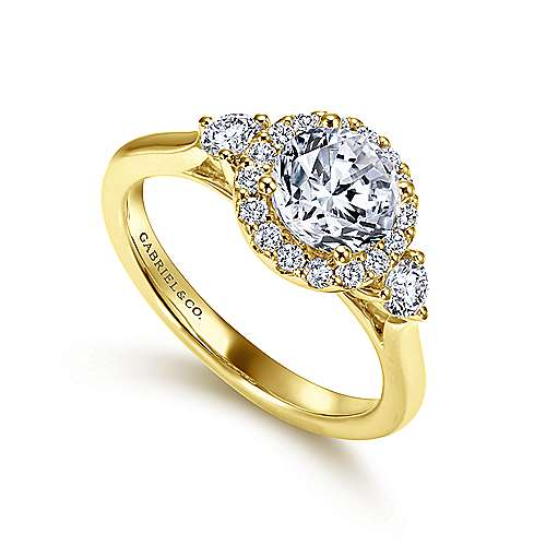 Noelle 14k Yellow Gold Round Halo Engagement Ring angle 3