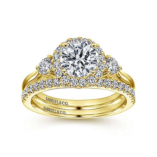 Noelle 14k Yellow Gold Round Halo Engagement Ring angle 4