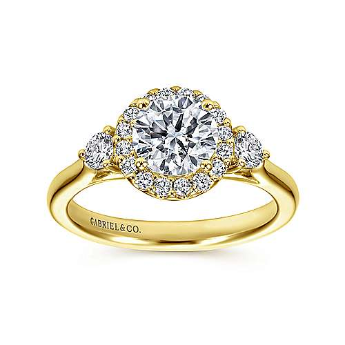 Noelle 14k Yellow Gold Round Halo Engagement Ring angle 5