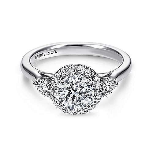 Gabriel - Noelle Platinum Round 3 Stones Halo Engagement Ring