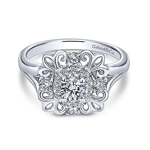 Gabriel - Nolan 14k White Gold Round Halo Engagement Ring
