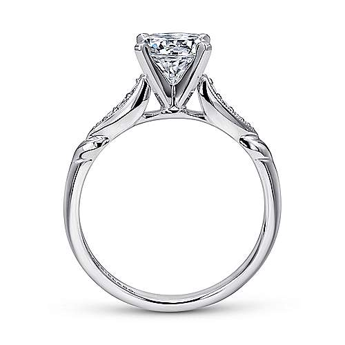 Nora 14k White Gold Round Straight Engagement Ring angle 2