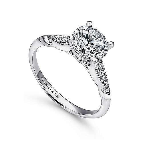 Nora 14k White Gold Round Straight Engagement Ring angle 3