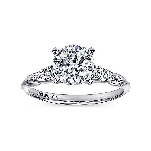 Nora 14k White Gold Round Straight Engagement Ring angle 5